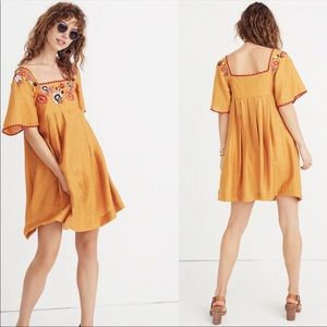 NEW Madewell embroidered square neck mini dress